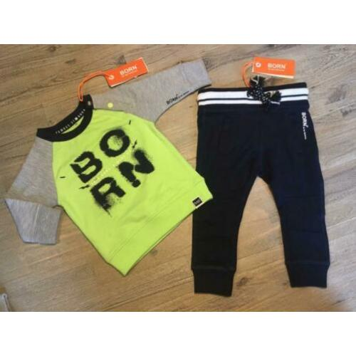 Nieuw set Born to be Famous sweater neon broekje 68