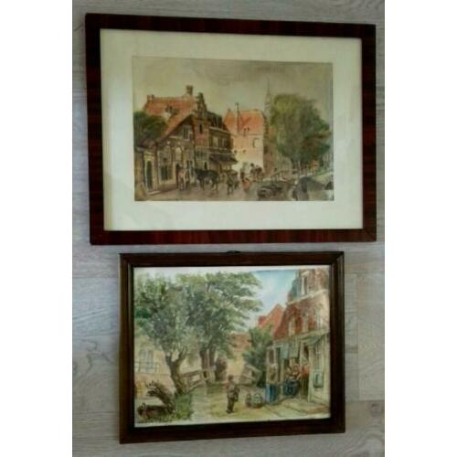 2 Original Aquarelles After Cornelis Springer ( Haarlem )